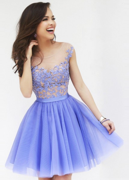 Periwinkle Scoop Neck Sheer Floral Top Layered Tulle Party Dress